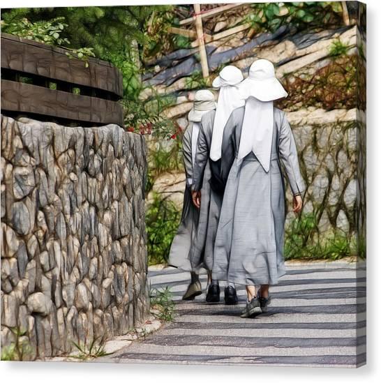 Nuns In A Row Canvas Print