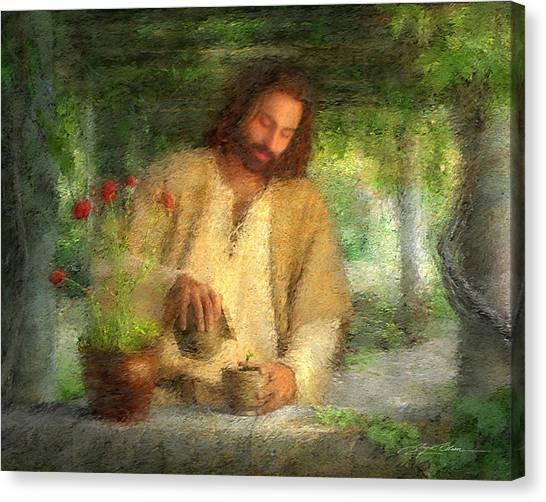 Garden Flowers Canvas Print - Nurtured By The Word by Greg Olsen