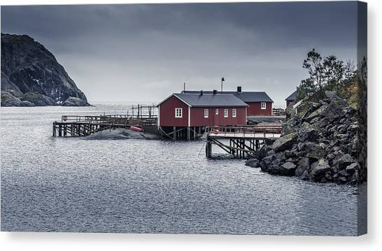 Canvas Print featuring the photograph Nusfjord Rorbu by James Billings
