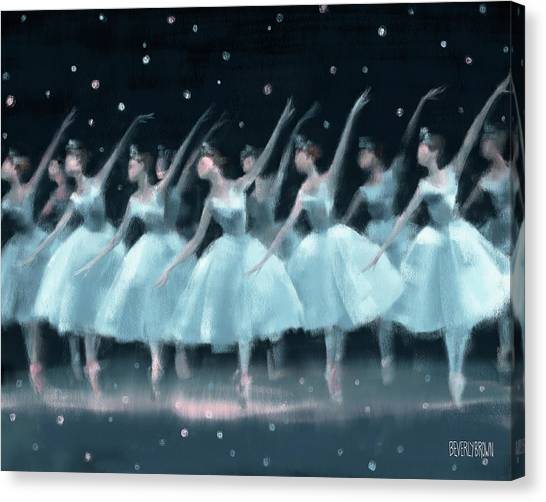 Snowflakes Canvas Print - Nutcracker Ballet Waltz Of The Snowflakes by Beverly Brown