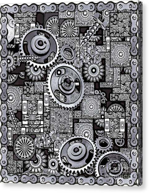 Canvas Print featuring the digital art Nuts And Bolts by Eleni Mac Synodinos