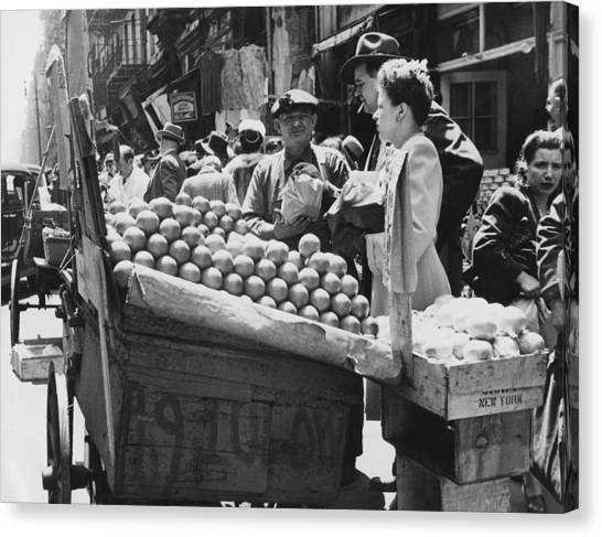 Produce Stand Canvas Print - Ny Push Cart Vendors by Underwood Archives