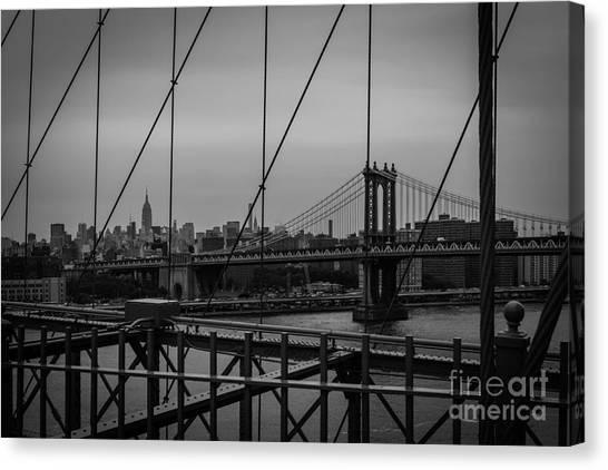 Ny Skyline From Brooklyn Bridge Canvas Print