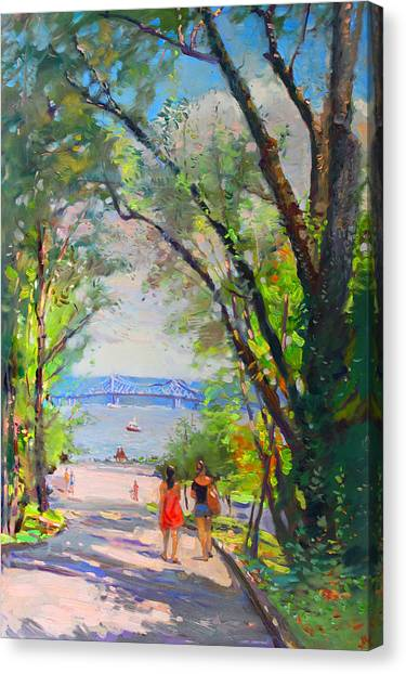 Hudson River Canvas Print - Nyack Park A Beautiful Day For A Walk by Ylli Haruni