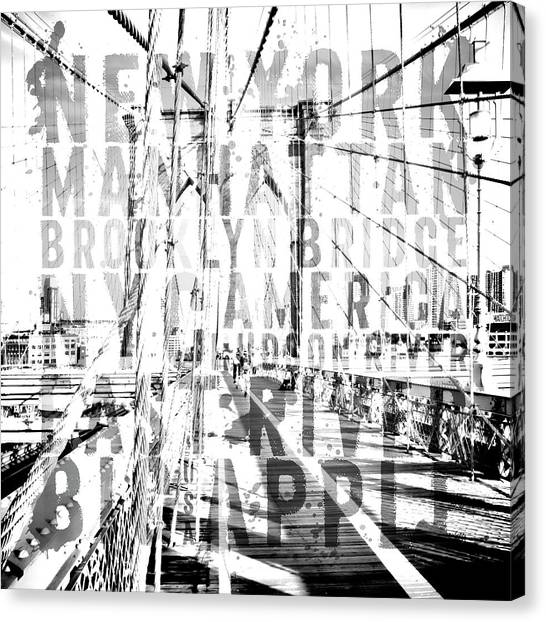 Black And White Art Canvas Print - Nyc Brooklyn Bridge Typography No2 by Melanie Viola