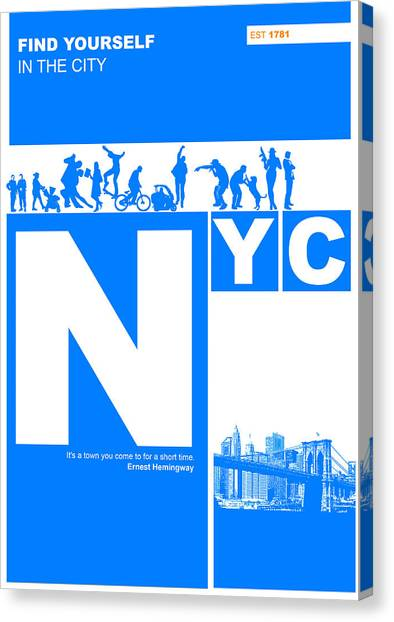 Broadway Canvas Print - Nyc Find Yourself In The City by Naxart Studio