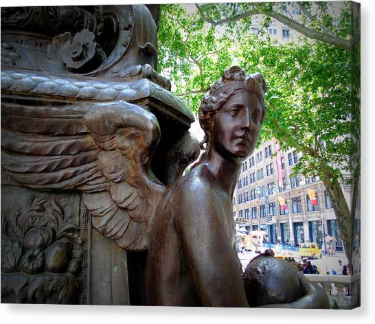 Nyc Library Angel Canvas Print