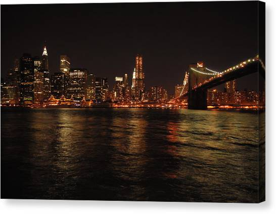 Nyc Night Canvas Print by Maria Lopez