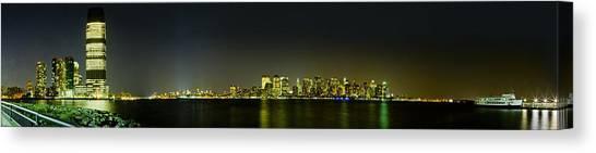 Nyc Night Skyline Panorama 1 Canvas Print