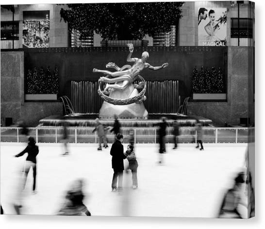 Monument Canvas Print - Nyc Rockefellar Iceskating by Nina Papiorek