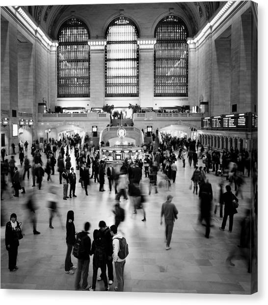 Trains Canvas Print - Nyc Rush Hour by Nina Papiorek
