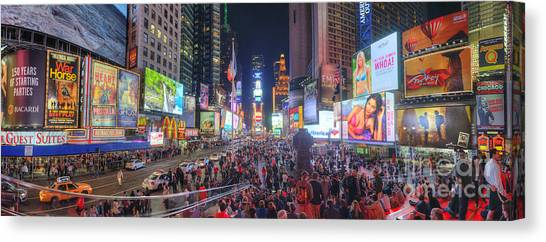 Nyc Times Square Panorama Canvas Print