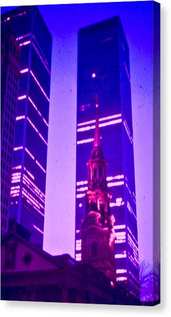 John H Popper Canvas Print - Nyc Twin Towers Color by John H Popper