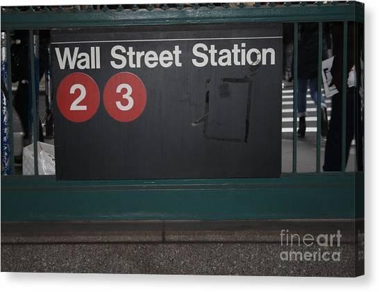 Nyc Wall Street Subway Entrance Canvas Print