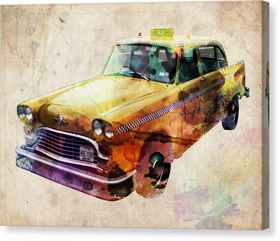 Central Park Canvas Print - Nyc Yellow Cab by Michael Tompsett