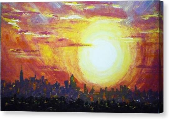 Nycity Sunset Canvas Print by Patti Bean