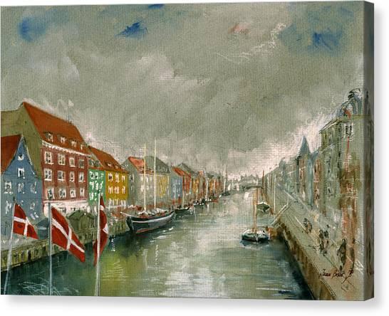 Harbours Canvas Print - Nyhavn Copenhagen by Juan  Bosco