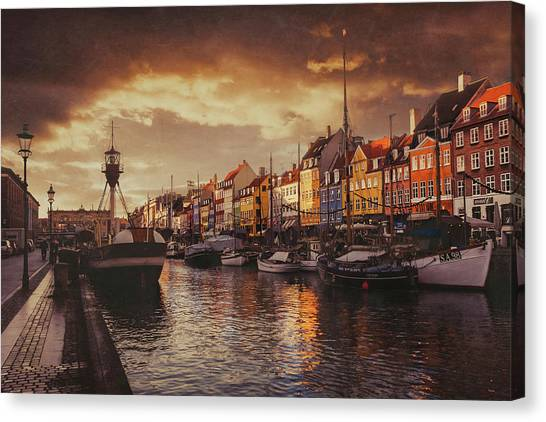 Fishing Boats Canvas Print - Nyhavn Sunset Copenhagen by Carol Japp