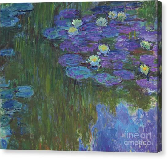 Murky Canvas Print - Nympheas En Fleur, 1914 To 1917  by Claude Monet