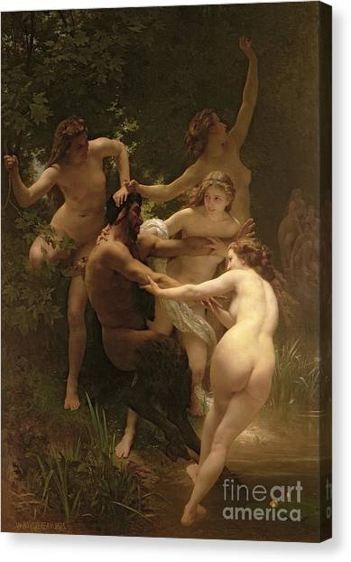 Nudes Canvas Print - Nymphs And Satyr by William Adolphe Bouguereau