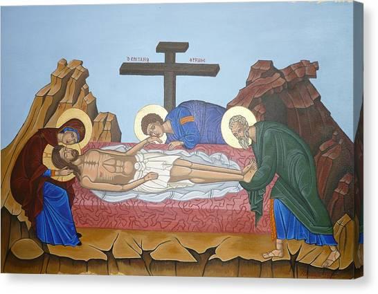 O Epitafos Jesus Canvas Print by Marinella Owens