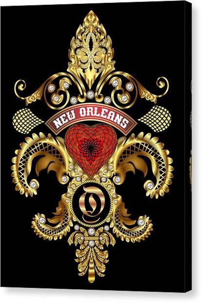 Bachelorette Canvas Print - O-fleur-de-lis New Orleans Transparent Back Pick Color by Bill Campitelle