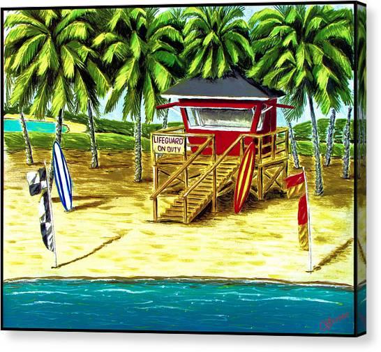 Surfboard Canvas Print - Oahu Beach by Chad Brittain