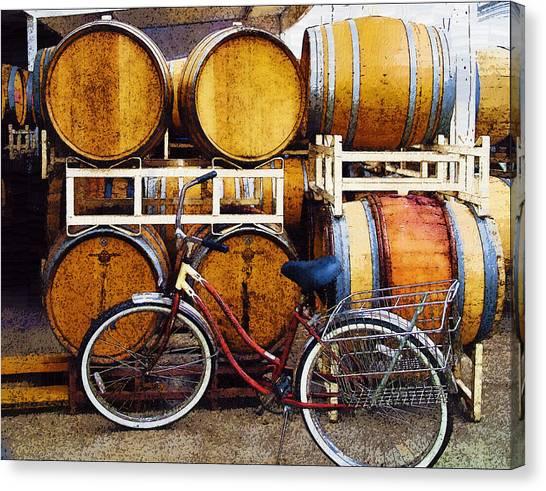 Oak Barrels And Bicycle Canvas Print