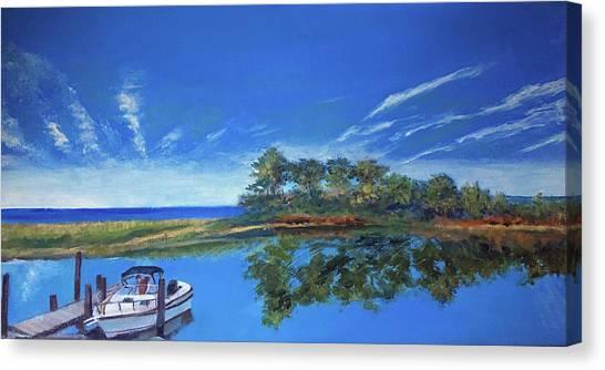 Oak Bluffs With Grady White Canvas Print