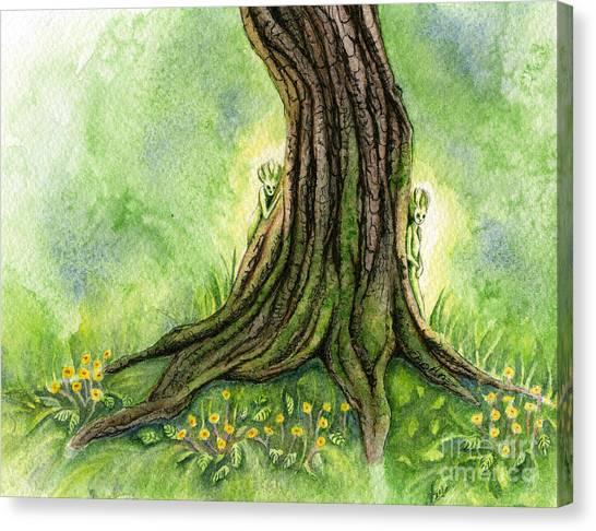 Sprite Canvas Print - Oak Tree Sprites by Antony Galbraith