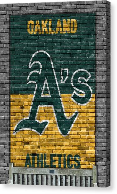 Oakland Athletics Canvas Print - Oakland Athletics Brick Wall by Joe Hamilton