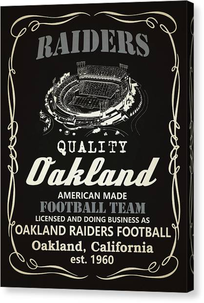 Oakland Raiders Canvas Print - Oakland Raiders Whiskey by Joe Hamilton