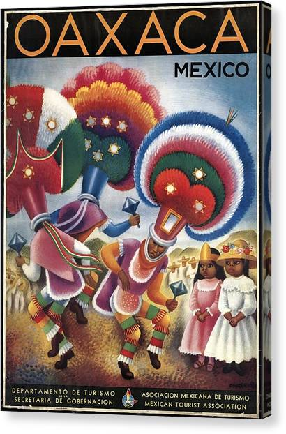 Oaxaca Canvas Print - Oaxaca, Mexico - Mexicans Dancing In Ceremonial Dress - Retro Travel Poster - Vintage Poster by Studio Grafiikka