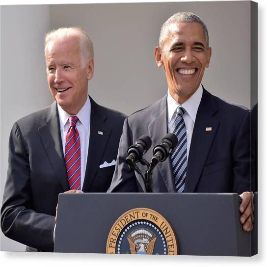 Joe Biden Canvas Print - Obama And Biden by Anna Wilding