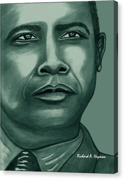 Obama In Bronze Canvas Print by Richard Heyman