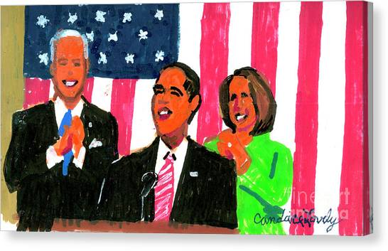 Nancy Pelosi Canvas Print - Obama's State Of The Union '10 by Candace Lovely