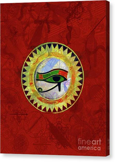 Egyptian Art Canvas Print - Occult Eye Of Ra by Pierre Blanchard