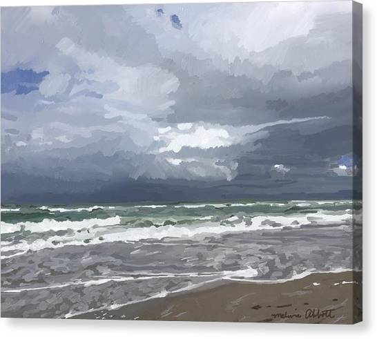 Ocean And Clouds Over Beach At Hobe Sound Canvas Print