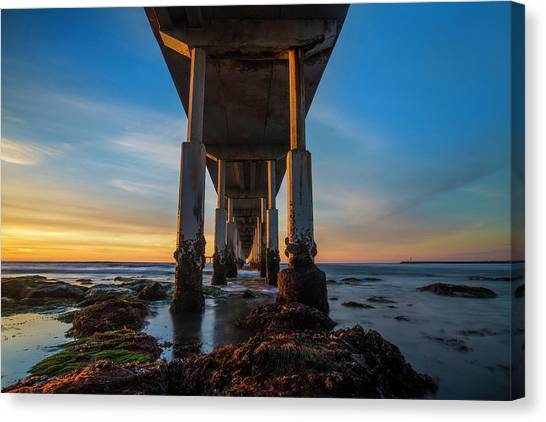 Low Tide Canvas Print - Ocean Beach Pier by Larry Marshall