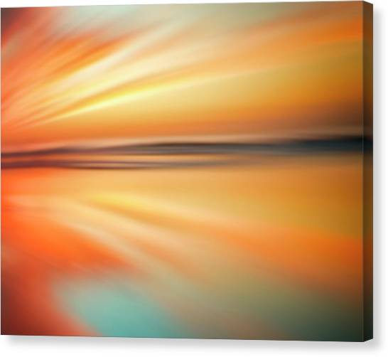 Ocean Beach Sunset Abstract Canvas Print