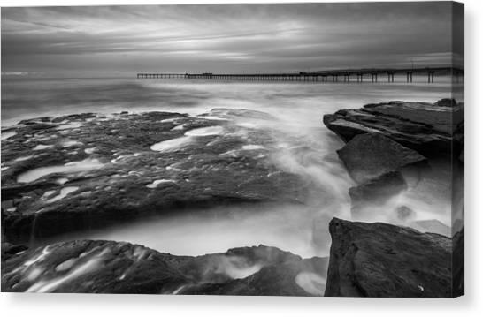 Ocean Beach Tidepools And Pier Canvas Print