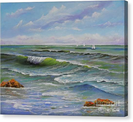 Canvas Print featuring the painting Ocean Breeze by Mary Scott