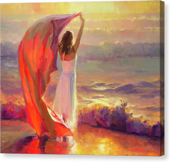 Woman Canvas Print - Ocean Breeze by Steve Henderson