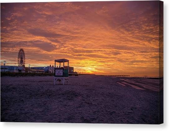 City Sunrises Canvas Print - Ocean City Beach - Red Skies by Bill Cannon