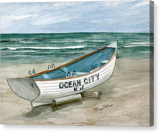 Lifeguard Canvas Print - Ocean City Lifeguard Boat by Nancy Patterson