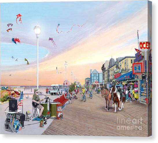 City Sunset Canvas Print - Ocean City Maryland by Albert Puskaric