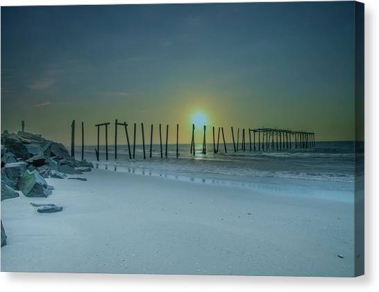 City Sunrises Canvas Print - Ocean City Sunrise - 57th Street Pier Ruin by Bill Cannon