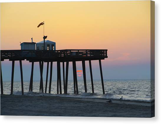 City Sunrises Canvas Print - Ocean City - Sunrise At The 14th Street Pier by Bill Cannon