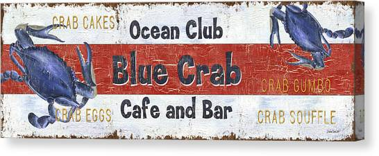 Crabs Canvas Print - Ocean Club Cafe by Debbie DeWitt