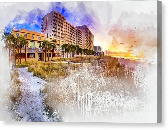 Ocean Drive Sunrise Watercolor Canvas Print